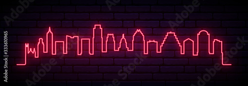 Photo Red neon skyline of Austin city