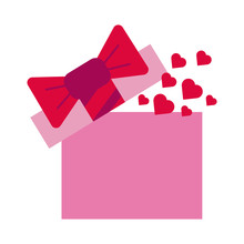 Gift Box Present With Heart Love Flat Style