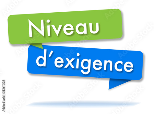 Requirement level in colored speech bubbles and french language Wallpaper Mural