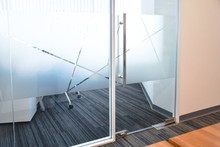 Glass Film Design. Frosted Film Glass Sticker Cut In Pattern, Modern Office, Concept. Privacy In Work Place, Manager Room. Glass Wall Idea For Interior.