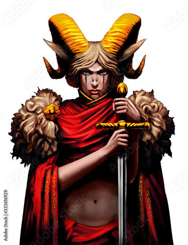 Fotografía A beautiful satyr girl with huge golden horns, and with a sword in her hands, looks straight ahead at the viewer, she is dressed in a red tunic with woolen shoulders