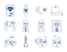 Online Doctor Health Medicine Care Blue Line Style Icons Set
