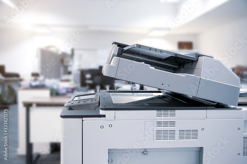 Photo The photocopier or network printer is office worker tool equipment for scanning and copy paper