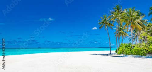 Fototapeta Amazing scenery, relaxing beach, tropical landscape background. Summer vacation travel holiday design. Luxury travel destination concept. Beach nature, travelling tourism banner, vertical view obraz