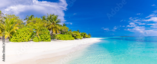 Obraz Amazing scenery, relaxing beach, tropical landscape background. Summer vacation travel holiday design. Luxury travel destination concept. Beach nature, travelling tourism banner, vertical view - fototapety do salonu