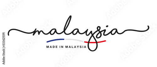 Fotografía Made in Malaysia handwritten calligraphic lettering logo sticker flag ribbon ban