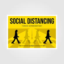 Banten, Indonesia, 27 March 2019: Minimalist Social Distancing Flat Vector Poster Illustration Design, The Beatles Inspiration