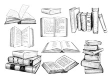 .A Collection Of  Books Sketch...