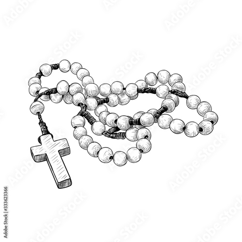 Fotografia .Prayer beads. Hand-drawn vintage drawing of the rosary. Catholic tradition.Vect