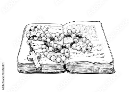 Leinwand Poster .Rosary and the old prayer book. Hand-drawn vintage drawing . Catholic tradition