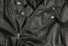 Close-up Of Vintage Moto Black Leather Jacket Details-collar, Locks, Rivets