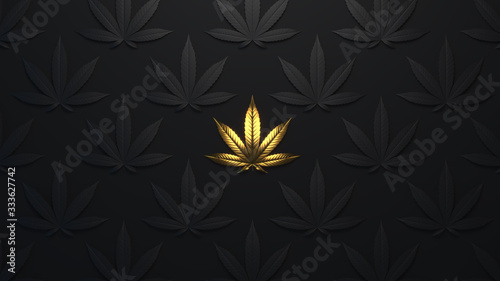 Fototapeta Luxury golden background with cannabis leaves. Minimal trendy design wallpaper marijuana. Black and gold leaves cannabis.3d render. 3d illustration. obraz