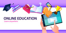 Online Education Banner With T...