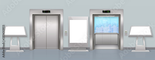 Cuadros en Lienzo Entrance hall with open and closed bodice, advertising empty floor stand and touch screen terminals