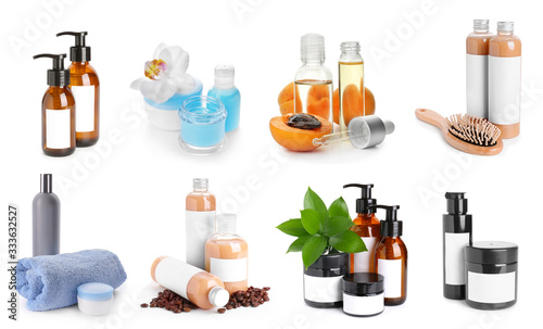Set of different cosmetic products on white background