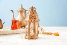 Muslim Lamp With Tea On White ...