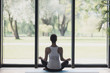 Leinwandbild Motiv Young woman meditate at home, Girl practicing yoga in class, Relaxation, body care concept