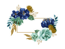 Watercolor Illustration Botanical Black And Gold Rose Royal Indigo Navy Blue Leaves Collection Set Of Wild And Garden And Abstract Foliage Invitation Hand