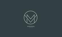 Alphabet Letter Icon Logo MV Or VM