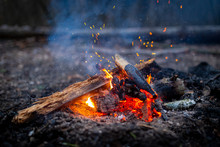 Campfire With Sparks In Forest...