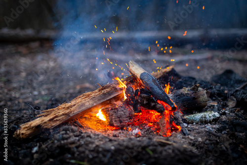Fototapeta Campfire with sparks in forest outdoor camping