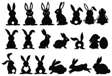 Set Of Silhouettes Of Rabbits....