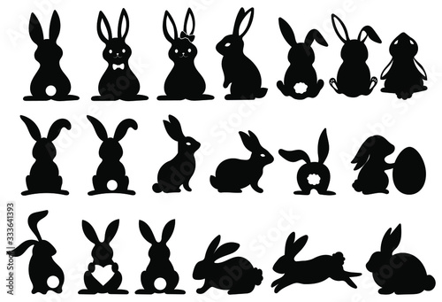 Slika na platnu Set of silhouettes of rabbits