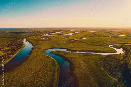 Aerial panorama of the rivers of the Astrakhan region in the spring Canvas Print