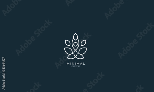 Fotomural A line art icon logo of a YOGA person with leaves