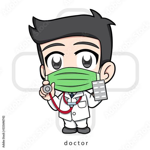 Chibi doctor, medical, Vector illustration Cartoon Canvas Print