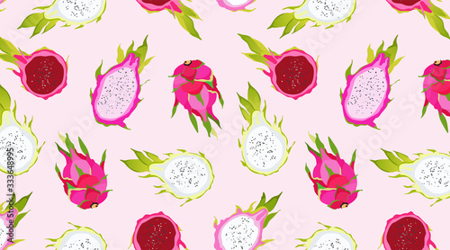 Seamless pink dragon fruit pattern. Exotic fruits on a soft pink background. Hawaiian food. Healthy eating. Trendy vector illustrated pattern of summer fruits. Beautiful design for wallpapers, web. - 333648995