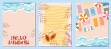 Set Of Three Summer Templates. Card, Banner Design For Web And Print. Ocean, Sea, Beach Towel And Sunglasses On A Sand. Colorful Sun Umbrellas On The Seaside. Blue Water And Waves. Modern Lettering.