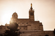 basilica notre dame de la garde in marseille during sunset