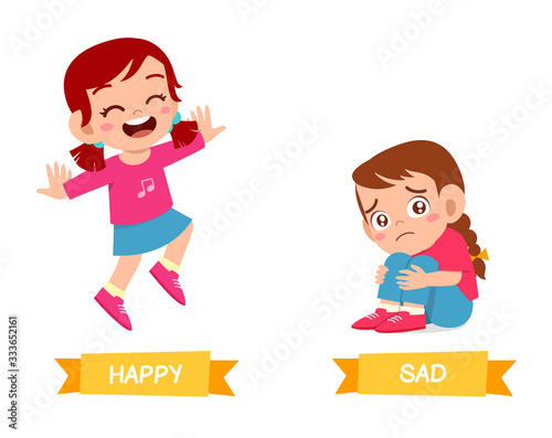 Photo cute example of opposite word antonym for kid