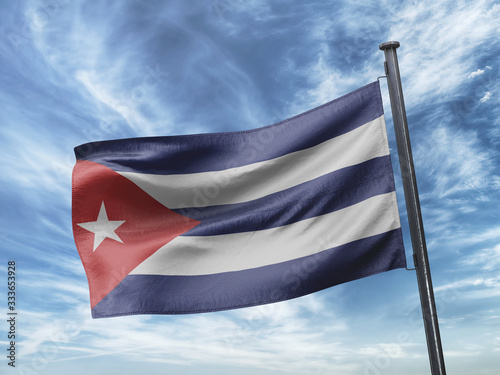 Flag of Cuba in the Blue Sky on Pole Wallpaper Mural