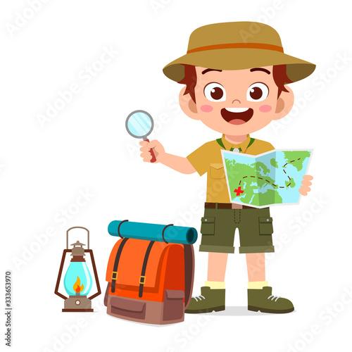 Tablou Canvas happy cute little kid boy wear scout uniform