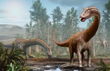Diplodocus dinosaur scene from the Jurassic era 3D illustration