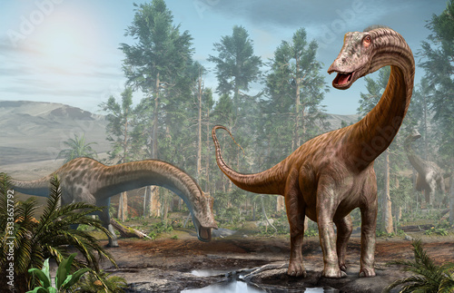 Photo Diplodocus dinosaur scene from the Jurassic era 3D illustration