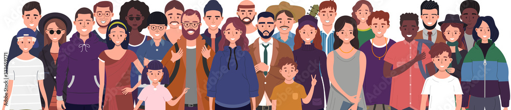 Fototapeta Multinational group of people isolated on white background. Children, adults and teenagers stand together. Vector illustration