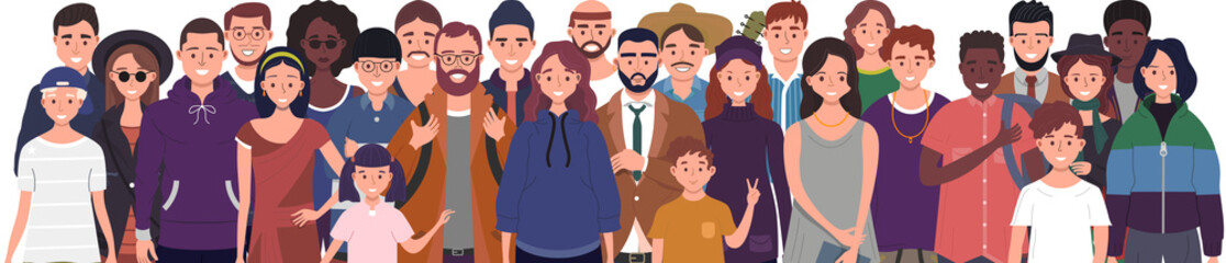 Multinational group of people isolated on white background. Children, adults and teenagers stand together. Vector illustration