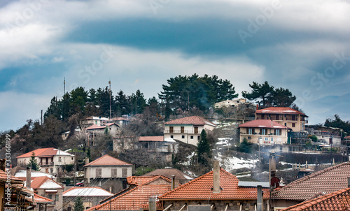 view of Vitina, a mountain village in Arcadia, Peloponnese, Greece Wallpaper Mural