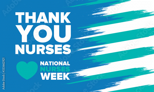 Obraz National Nurses Week. Thank you nurses. Medical and health care concept. Fighters against viruses and diseases. In honour of the doctors. Celebrated annual in United States. Vector illustration poster - fototapety do salonu