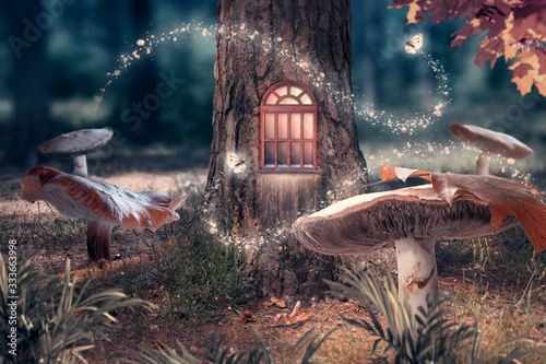 Fantasy enchanted fairy tale forest with giant mushrooms, magical elf or gnome house with shining window in pine tree hollow and flying fairytale magic butterflies leaving path with luminous sparkles
