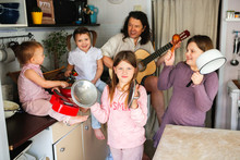 Large Family With 4 Children Plays Music At Home