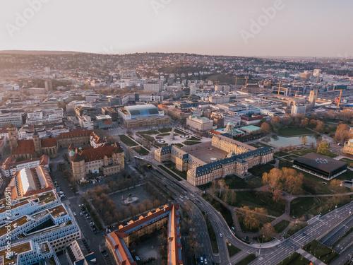 Aerial Cityscape of Stuttgart, Germany while sunset