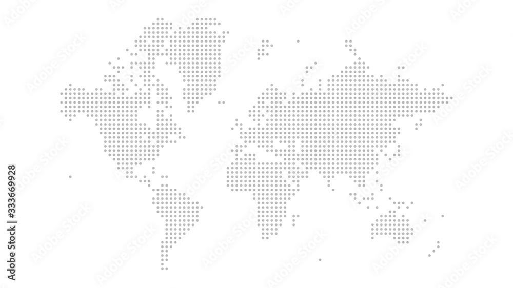 Fototapeta Dotted world map on white background. World map template with continents, North and South America, Europe and Asia, Africa and Australia