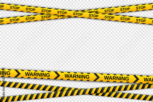 Tablou Canvas Warning yellow and black tapes on transparent background