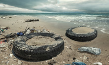 Car Tire And Plastic Bottles Pollution In Muddy Puddle On Beach. (Environment Concept)