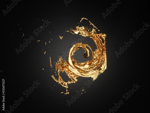 Abstract splash of liquid gold on black background Canvas Print