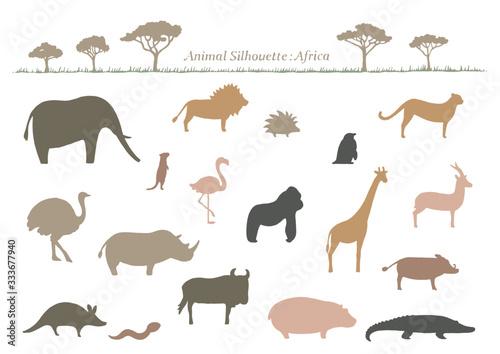 Fotografie, Obraz 動物 イラスト シルエット アフリカ